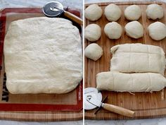 Photo collage - cutting dinner roll dough with a pizza cutter.