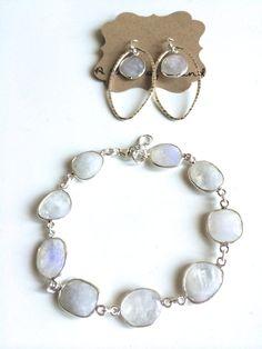 The Moonstone Set ~ Beautiful Genuine Sterling Silver Wrapped Moonstone Bracelet & Earrings