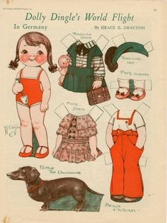 Paper dolls & Paper doxies :D  OMG!!  I love Dolly Dingle!!  And the fact that she has a doxie makes me love her even more!!