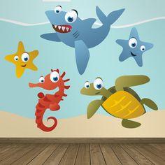Vinilos Infantiles: Acuario Vinilo decorativo infantil en kit de animales del mar, como el tiburón, estrella de mar, caballito de mar y tortuga. #vinilosdecorativos #decoracion #patrones #mosaico #teleadhesivo