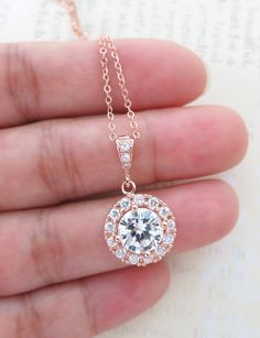 Rose Gold Luxe Cubic Zirconia Round Drop necklace, Halo style crystal necklace, Rose Gold Wedding Bridal bridesmaid necklace, blush weddings, pink weddings, rose gold weddings, bridesmaid necklace, bridal shower gifts, www.colormemissy.com
