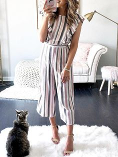 Striped Flutter Sleeve Wide Leg Jumpsuit