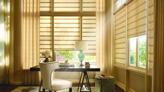 The Vignette® Modern Roman shades from Hunter Douglas are a great addition to your home office, providing the perfect ambiance to help you get your work done! Casas Shabby Chic, Shabby Chic Stil, Shabby Chic Homes, Front Doors With Windows, Blinds For Windows, Window Blinds, Wood Blinds, Roman Blinds, Wood Shutters