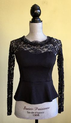 c1db5d0cffbfb My Yetifang Black Lace Peplum Bustier Top Blouse Size L (Runs Small Check  Sizing)