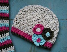 Baby Girl's Crochet Hat, Handmade, Crochet Hat-Newborn, 3-6 months, 6-12 months, Photo Prop, Spring, Easter, Knit. Very cute color combo