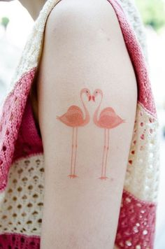 Love Couple Flamingo Tattoos On Bicep