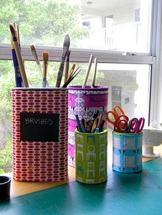 Fabric Covered containers...recycle, reuse, re-decorate.