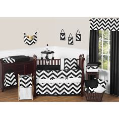 The chevron baby bedding set by Sweet Jojo Designs will create instant zest for your nursery. This trendy designer crib bedding set boasts a large black and white chevron print in brushed microfiber to set your nursery up in high style.