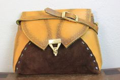 Vintage Patchwork Leather Pouch with Tooled by theDarlingVintage, $31.00