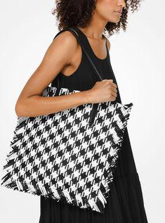 fbbb8938c43e Maldives Large Gingham Woven Leather Tote Bag | Michael Kors