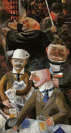 """""""The pillars of society"""", by George Grosz Interesting symbolism. Teacup on head implies no brains. The New Objectivity artists are confronting all these terrible, uncomfortable things in reality to their viewers with rather clear and realistic forms. Art Dégénéré, Dadaism Art, Ludwig Meidner, John Heartfield, Max Beckmann, George Grosz, New Objectivity, Degenerate Art, Art History"""