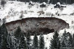 Collapse: Despite the ground around the mine giving way, all of the workers were safely ev...