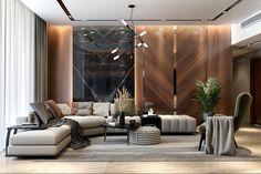 Drawing Room Interior Design, Door Design Interior, Luxury Interior Design, Wood Cladding Interior, Lcd Wall Design, Wall Cladding Designs, Modern Wall Paneling, Luxury Home Furniture, Reception Design