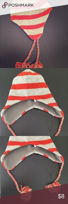 Tommy Hilfiger Winter Hat Worn probably twice. Great condition! Unisex. One size. Light gray and orange striped. Tommy Hilfiger. Tommy Hilfiger Accessories Hats