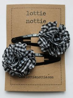 Black and White Gingham Flower Hair Clip  www.lottienottie.com