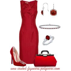 "Red is the perfect Power Color  ""Woman in red"" by ana-isabel-figueira on Polyvore"