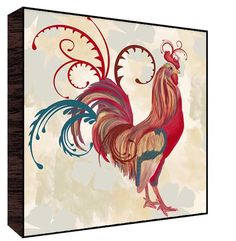 Teal Rooster I Wall Art