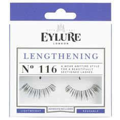 EYLURE NATURALITE LASHES - LENGTHENING GLAMOUR (116) ($6.40) ❤ liked on Polyvore featuring beauty products, makeup, eye makeup, false eyelashes, eylure false eyelashes and eylure