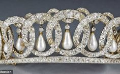 The Grand Duchess Vladimir Tiara , This one belonged to Grand Duchess Marie Pavlovna, Nicholas II's aunt. In 1918, when she fled St. Petersburg during the Russian revolution, Marie hid the tiara in her palace. Later, a member of British Intelligence snuck back into the palace, retrieved the tiara, and returned it to Marie. At her death, the tiara passed to her daughter, Princess Nicholas of Greece, who then sold it to Queen Mary of England. It now belongs to Queen Elizabeth II.