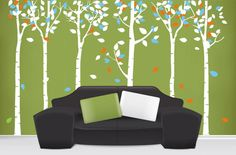 "Size : 102""H Category : Tree Wall Sticker Material : Vinyl Wall Sticker Room : bedroom, living room Color : White, Blue, Orange Includes..."