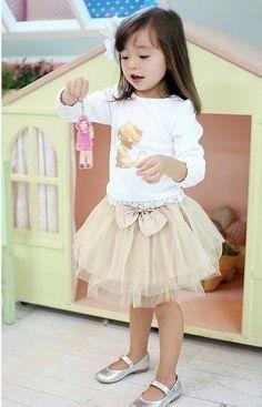 2 delig setje Goldie Shirt & Tutu rok meisjes kleding - Kiddie Deals