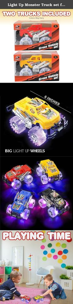"""Light Up Monster Truck set for Boys and Girls by ArtCreativity - Set Includes 2, 6"""" Monster Trucks With Beautiful Flashing LED Tires - Push n Go Toy Cars Best Gift for Kids - For Ages 3+. GIVE THE KIDS A GIFT THEY'LL ALWAYS REMEMBER Oh So Fun Shopping around for the perfect gift for that little boy or girl? That one toy that will make them shriek in excitement and bounce off the walls when they catch a glimpse of it? Then you simply can't go wrong with this ultra-fun toy truck set! It…"""