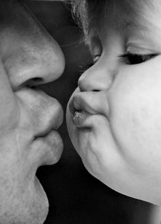 Kiss | baby | parenthood | father and child | smooch | pucker up | black & white photography | sweet | too cute | www.republicofyou.com.au