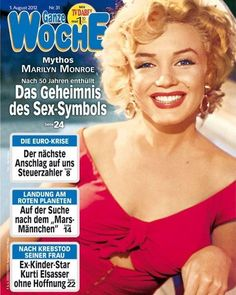 Ganze Woche - August 1st 2012, magazine from Austria. Front cover photograph of Marilyn Monroe as she appeared at the Ray Anthony party, August 3rd 1952