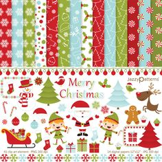 Christmas clipart and digital paper pack Merry Christmas DK015 , digital scrapbooking, digital collage sheet, printable patterned paper. $7.50, via Etsy.