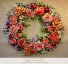 Fabulous silk ribbon embroidery wreath