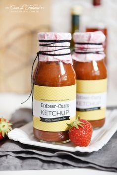 Erdbeer-Curry-Ketchup Rezept I Strawberry ketchup I BBQ I Grillen I Flaschenaufkleber I Flaschenetiketten I Casa di Falcone