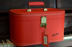 Starline vintage 1950's red train case with by OoliticButterfly
