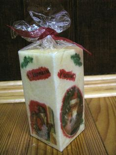 Christmas Candle Ivory Square Table Santa Decorations Xmas New Year Palm Wax Art Yankee Candle Christmas, Christmas Candles, Santa Decorations, Christmas Table Decorations, Wood Cutting, Cutting Boards, Christmas Greeting Cards, Christmas Greetings, Square Candles