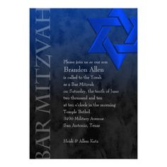 Bar Mitzvah Black and Blue Grunge Personalized Invitations