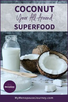 Discover coconut's benefits as a superfood! You can surely make the best out of it — from its meat, water, milk and oil! Coconut's uses are indeed countless, making it an all-around superfood for menopause!   Coconut Benefits. Health Benefits of Coconut. Many Uses of Coconut   #CoconutHealthBenefits #CoconutUses #CoconutHealthySnacks Coconut Chia Seed Pudding, Coconut Smoothie, Superfood Salad, Superfood Recipes, Keto Avocado, Coconut Health Benefits, Coconut Recipes, Natural Supplements, Menopause