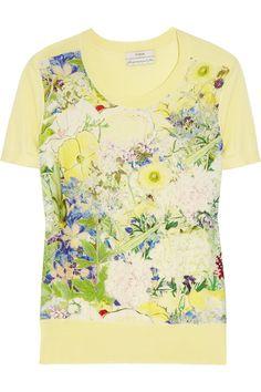 "Erdem. Multicolor printed silk crepe/pale lemon fine-knit silk blend ""Arizona"" top."