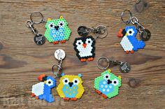 Hama Bead Birds Owl Penguin Puffin - teacher gifts or Christmas gifts from the girls?