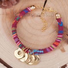 "Wholesale - Boho Chic Classic Braided Friendship Bracelets Multicolor Brass Color & Gold Plated Round 18cm(7 1/8"") long, 1 Piece"