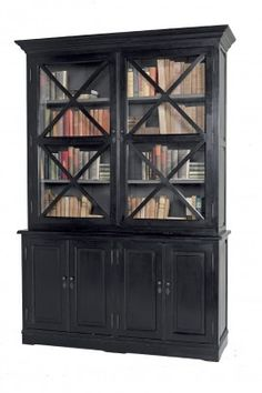 Black Bookcases With Cabinets | Luxury Black Criss Cross Bookcase Cabinet Furniture Storage Bookcase ...