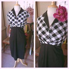 Retro Dress Black White Diamond Check M L PinUp Rockabilly Wiggle 1940s 1950s #vfemage #WigglePencil