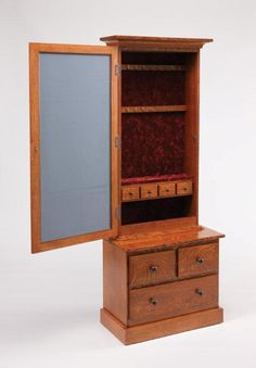 Amish Mission Style Mirrored Jewelry Armoire