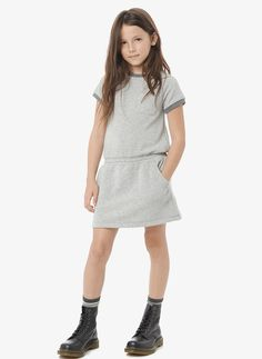 Vince Girls French Terry Dress - Heather Grey