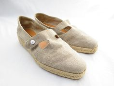 TALBOTS Linen Woven Cut Out Espadrilles by Rigattiere on Etsy