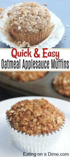 If you need a quick breakfast option for busy mornings, try Applesauce Oatmeal Muffins. They are moist and delicious while being easy and budget friendly. easy 3 ingredients easy for a crowd easy healthy easy party easy quick easy simple Breakfast Desayunos, Breakfast Options, Oatmeal Breakfast Muffins, Apple Oatmeal Muffins, Bran Muffins, Chocolate Muffins, Applesauce Muffins, Baking With Applesauce, Simple Muffin Recipe