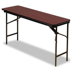 "Iceberg - Premium Wood Laminate Folding Table, Rectangular, 60w x 18d x 29h, Mahogany - Sold As 1 Each - Wear-resistant, 3/4"" melamine over particle board top. by Iceberg Products. $151.18. Iceberg - Premium Wood Laminate Folding Table, Rectangular, 60w x 18d x 29h, MahoganyWear-resistant, 3/4"" melamine-over-particle board top and melamine sealed underside. Full- length steel support skirt. Vinyl, T-molded edges. 1"" diameter, heavy gauge steel legs with heavy duty prote..."
