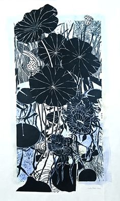 "Lotus Collaged  collage of woodcuts  51"" x 32"" by Kristin Harris."