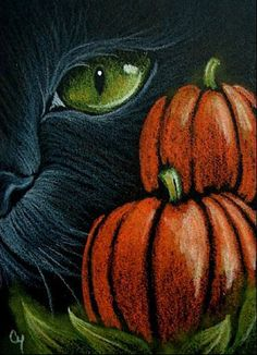 """Black Cat - Halloween"" By Artist Cyra R. get some yourself some pawtastic adorable cat appare Halloween Canvas, Halloween Painting, Halloween Drawings, Halloween Pictures, Halloween Cat, Halloween Themes, Vintage Halloween, Halloween Chalkboard Art, Autumn Painting"