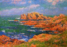 Les rochers à Ouessant, huile sur toile de Henri Moret (1856-1913, France)
