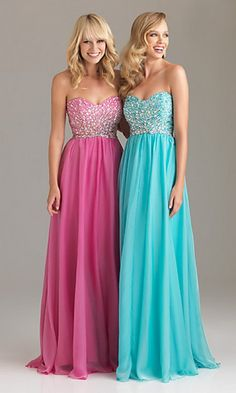 Pink and blue prom dresses <3