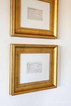 frame recipes for instant kitchen art or a beautiful Christmas gift for family